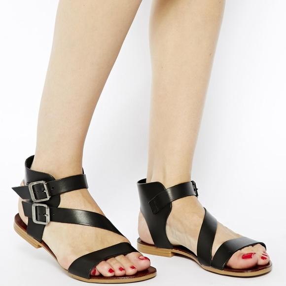 5ec1236b0 Aldo Shoes - ALDO Black Leather Asymmetric Flat Sandals